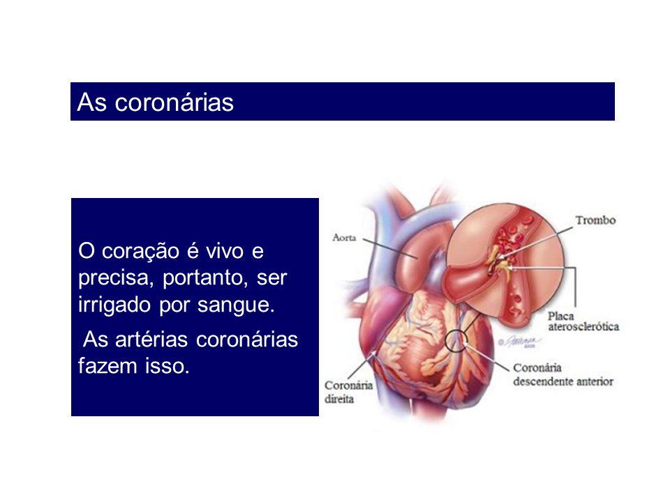 As coronárias O coração é vivo e precisa, portanto, ser irrigado por sangue. As artérias coronárias fazem isso.