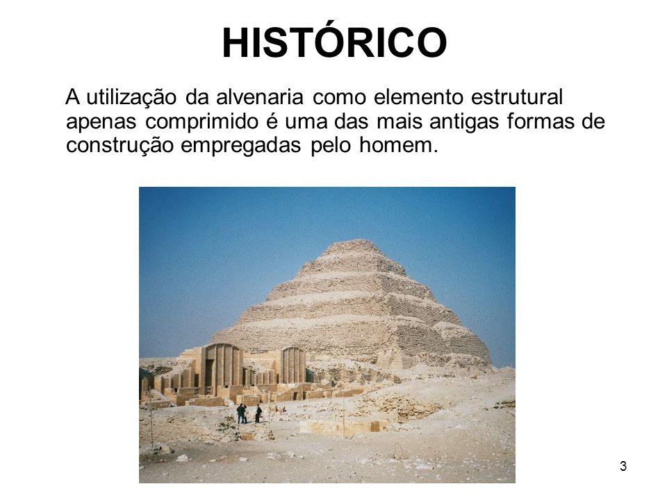 3 HISTÓRICO A utilização da alvenaria como elemento estrutural apenas comprimido é uma das mais antigas formas de construção empregadas pelo homem.