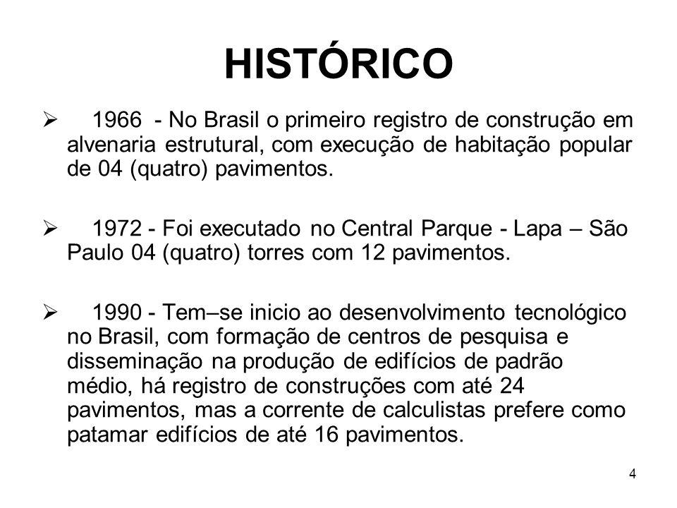 4 HISTÓRICO 1966 - No Brasil o primeiro registro de construção em alvenaria estrutural, com execução de habitação popular de 04 (quatro) pavimentos. 1