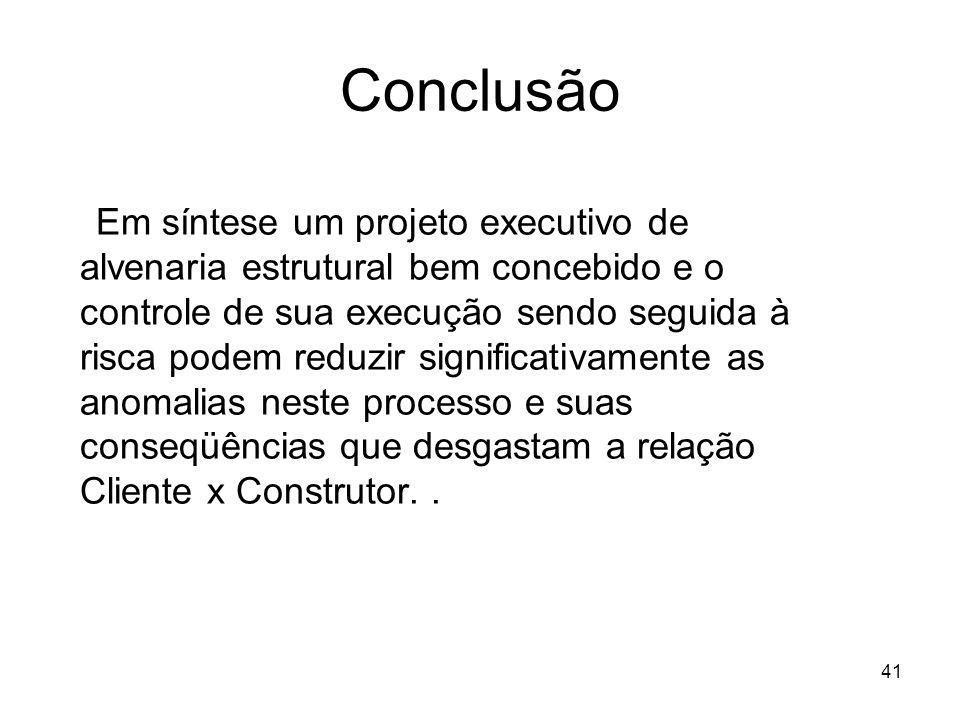 41 Conclusão Em síntese um projeto executivo de alvenaria estrutural bem concebido e o controle de sua execução sendo seguida à risca podem reduzir si