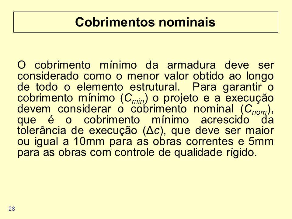 28 Cobrimentos nominais O cobrimento mínimo da armadura deve ser considerado como o menor valor obtido ao longo de todo o elemento estrutural. Para ga