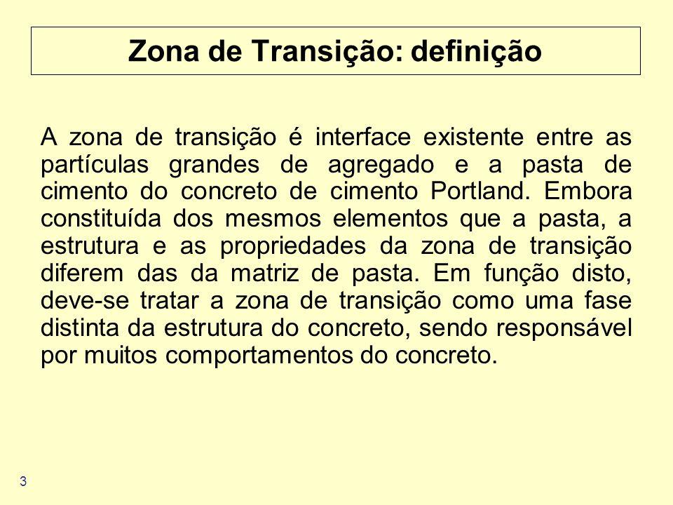 3 Zona de Transição: definição A zona de transição é interface existente entre as partículas grandes de agregado e a pasta de cimento do concreto de c