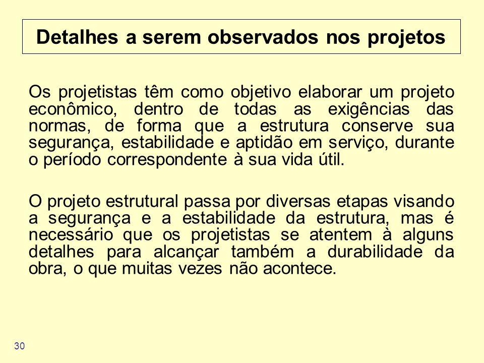 30 Detalhes a serem observados nos projetos Os projetistas têm como objetivo elaborar um projeto econômico, dentro de todas as exigências das normas,