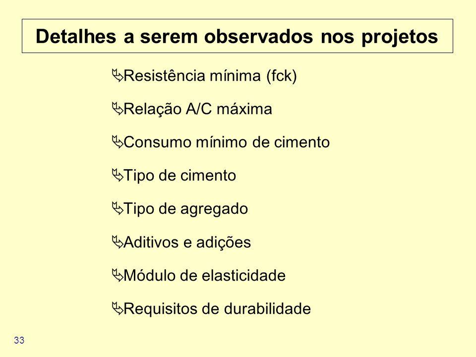 33 Detalhes a serem observados nos projetos Resistência mínima (fck) Relação A/C máxima Consumo mínimo de cimento Tipo de cimento Tipo de agregado Adi