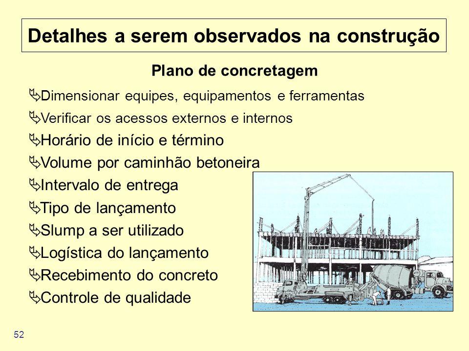 52 Detalhes a serem observados na construção Plano de concretagem Dimensionar equipes, equipamentos e ferramentas Verificar os acessos externos e inte