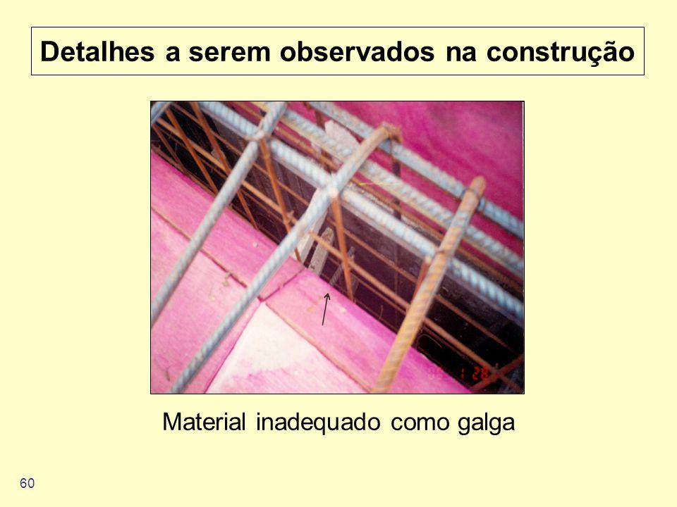 60 Detalhes a serem observados na construção Material inadequado como galga