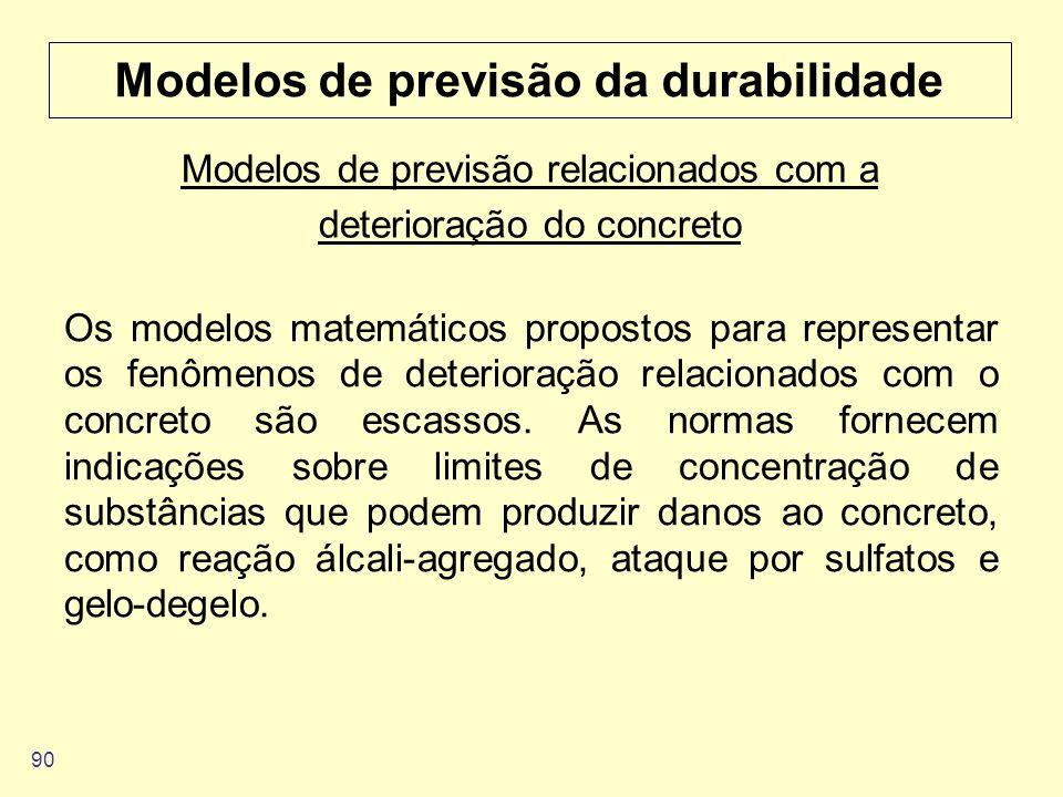 90 Modelos de previsão da durabilidade Os modelos matemáticos propostos para representar os fenômenos de deterioração relacionados com o concreto são