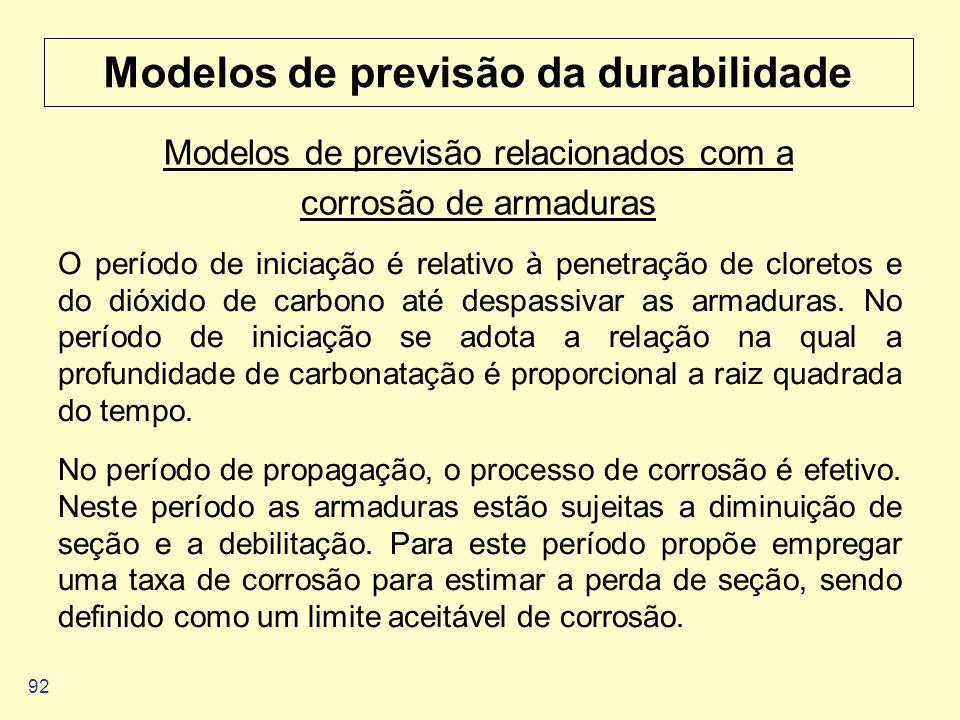 92 Modelos de previsão da durabilidade O período de iniciação é relativo à penetração de cloretos e do dióxido de carbono até despassivar as armaduras
