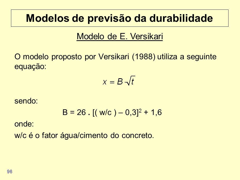 96 Modelos de previsão da durabilidade O modelo proposto por Versikari (1988) utiliza a seguinte equação: sendo: B = 26. [( w/c ) – 0,3] 2 + 1,6 onde: