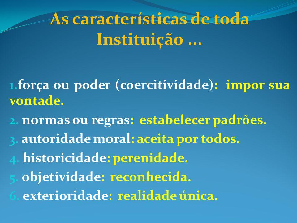 As características de toda Instituição... 1. força ou poder (coercitividade): impor sua vontade. 2. normas ou regras: estabelecer padrões. 3. autorida
