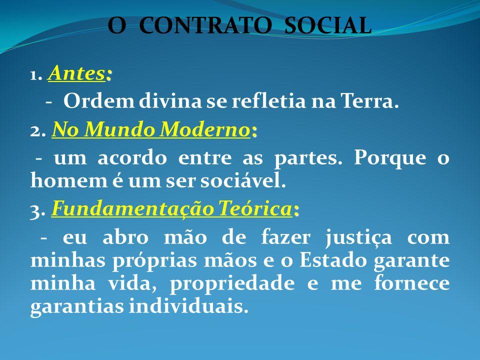 O CONTRATO SOCIAL : 1. Antes: - Ordem divina se refletia na Terra. : 2. No Mundo Moderno: - um acordo entre as partes. Porque o homem é um ser sociáve