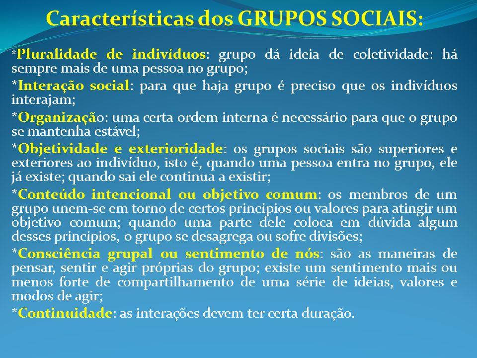 Características dos GRUPOS SOCIAIS: * Pluralidade de indivíduos: grupo dá ideia de coletividade: há sempre mais de uma pessoa no grupo; *Interação soc
