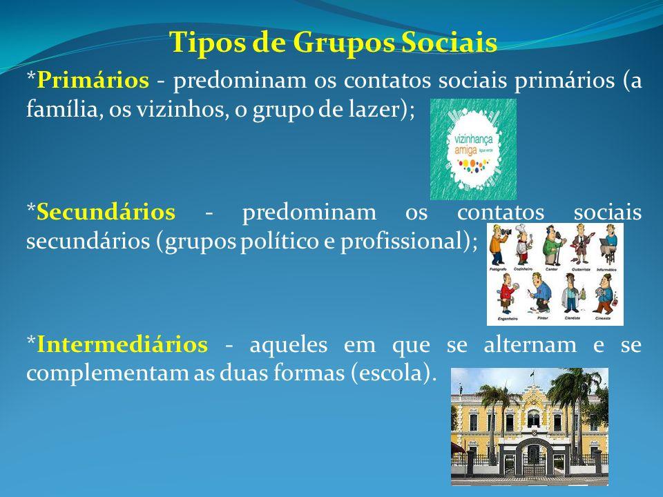 Tipos de Grupos Sociais *Primários - predominam os contatos sociais primários (a família, os vizinhos, o grupo de lazer); *Secundários - predominam os