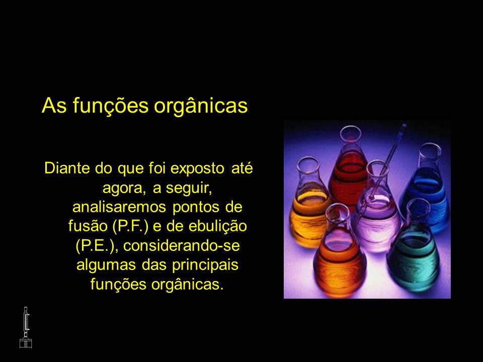 As funções orgânicas Diante do que foi exposto até agora, a seguir, analisaremos pontos de fusão (P.F.) e de ebulição (P.E.), considerando-se algumas