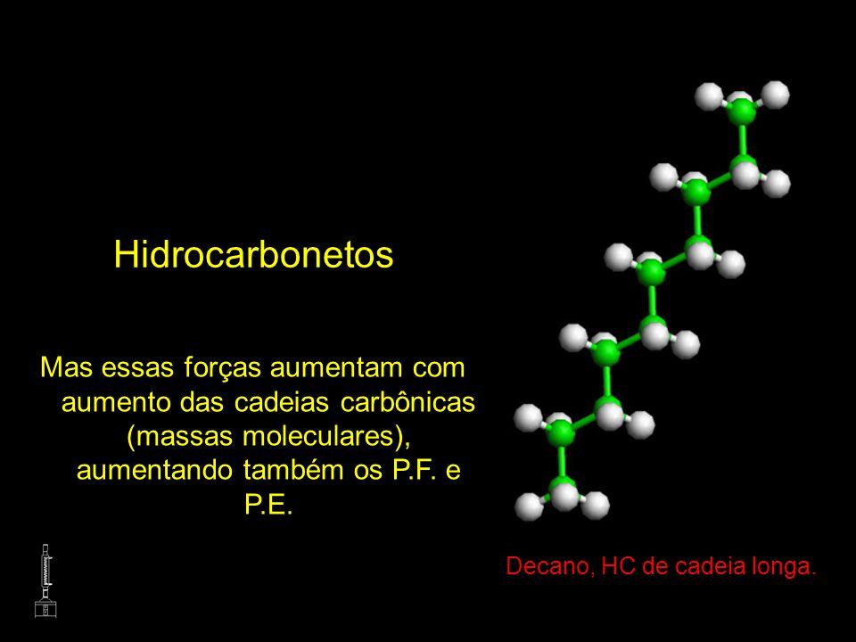 Hidrocarbonetos Mas essas forças aumentam com aumento das cadeias carbônicas (massas moleculares), aumentando também os P.F. e P.E. Decano, HC de cade
