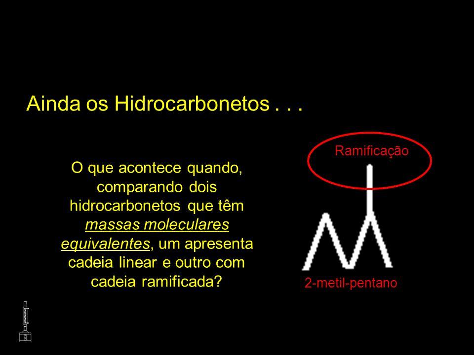 Ainda os Hidrocarbonetos... O que acontece quando, comparando dois hidrocarbonetos que têm massas moleculares equivalentes, um apresenta cadeia linear