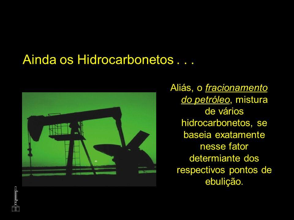Ainda os Hidrocarbonetos... Aliás, o fracionamento do petróleo, mistura de vários hidrocarbonetos, se baseia exatamente nesse fator determiante dos re