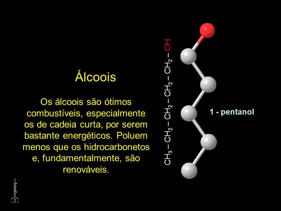 CH 3 – CH 2 – CH 2 – CH 2 – CH 2 – OH Os álcoois são ótimos combustíveis, especialmente os de cadeia curta, por serem bastante energéticos. Poluem men