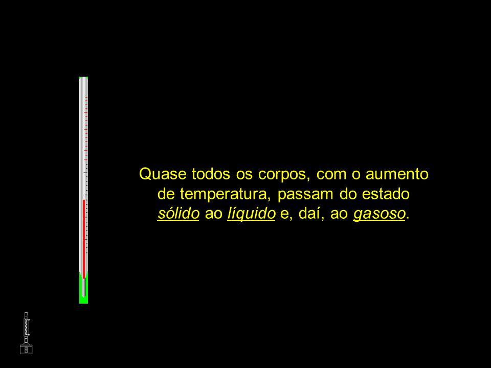 ESCALA CELCIUS, FAHRENHEIT E KELVIN (topo)topo Quase todos os corpos, com o aumento de temperatura, passam do estado sólido ao líquido e, daí, ao gaso