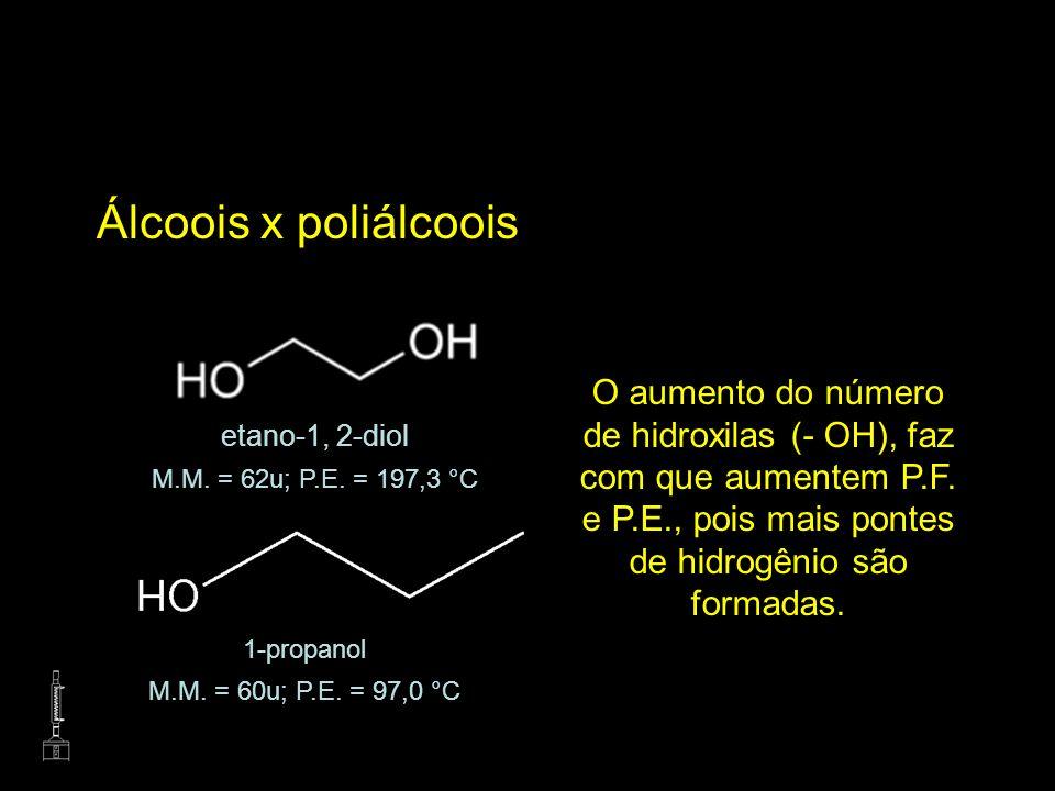 Álcoois x poliálcoois O aumento do número de hidroxilas (- OH), faz com que aumentem P.F. e P.E., pois mais pontes de hidrogênio são formadas. etano-1