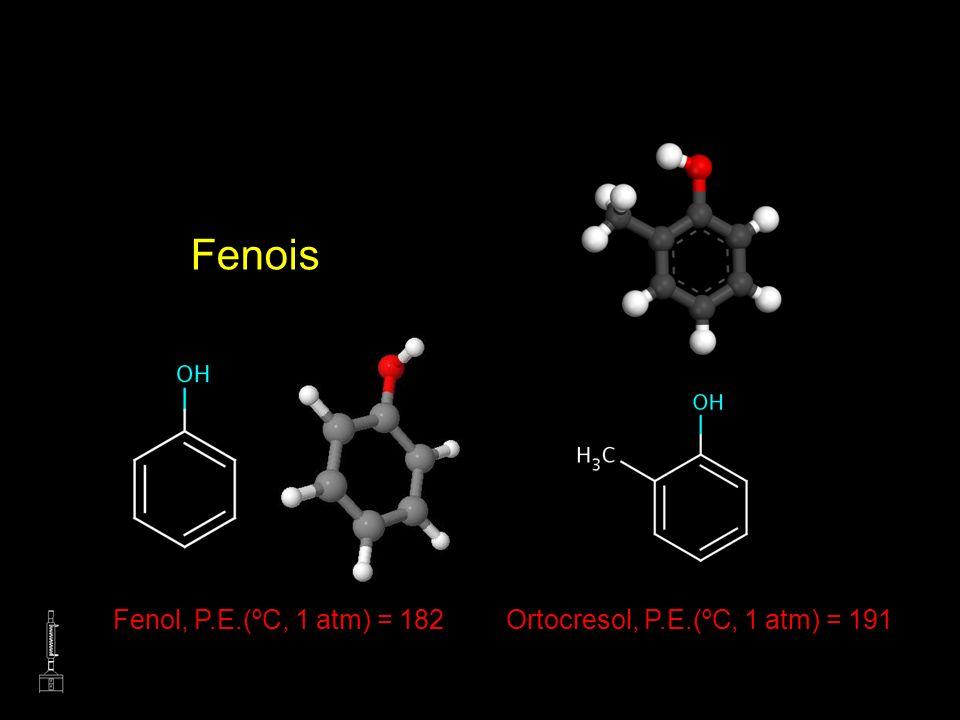 Fenois Fenol, P.E.(ºC, 1 atm) = 182Ortocresol, P.E.(ºC, 1 atm) = 191