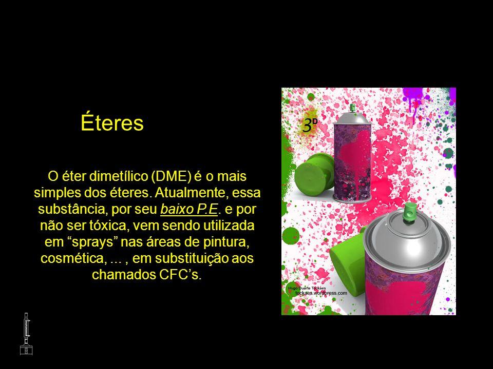 Éteres O éter dimetílico (DME) é o mais simples dos éteres. Atualmente, essa substância, por seu baixo P.E. e por não ser tóxica, vem sendo utilizada