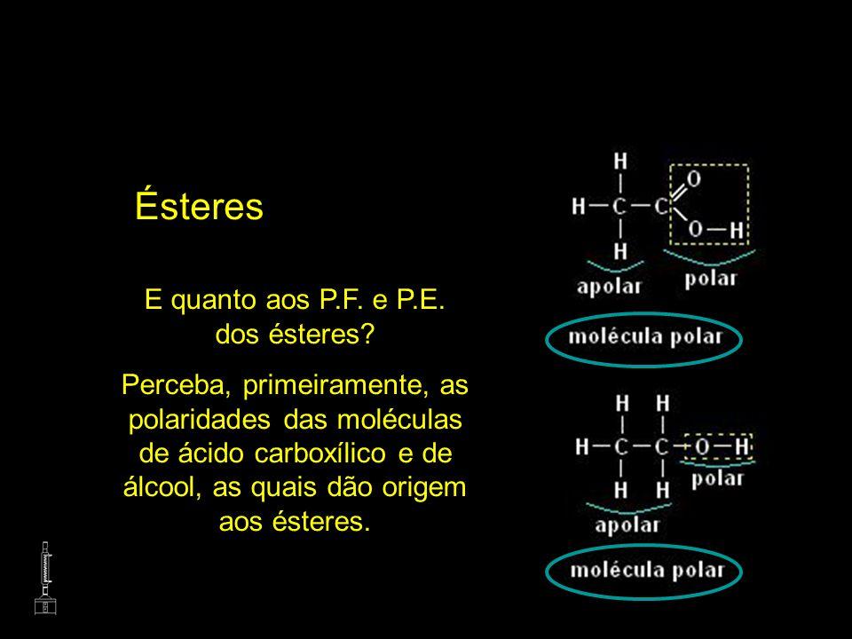 Ésteres E quanto aos P.F. e P.E. dos ésteres? Perceba, primeiramente, as polaridades das moléculas de ácido carboxílico e de álcool, as quais dão orig
