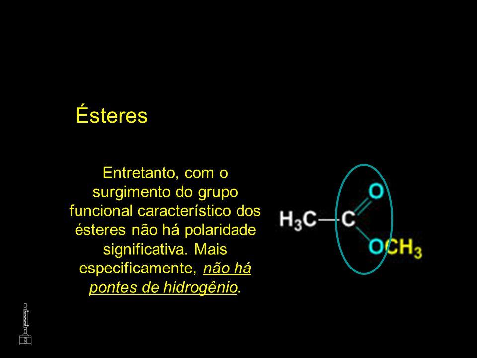 Ésteres Entretanto, com o surgimento do grupo funcional característico dos ésteres não há polaridade significativa. Mais especificamente, não há ponte