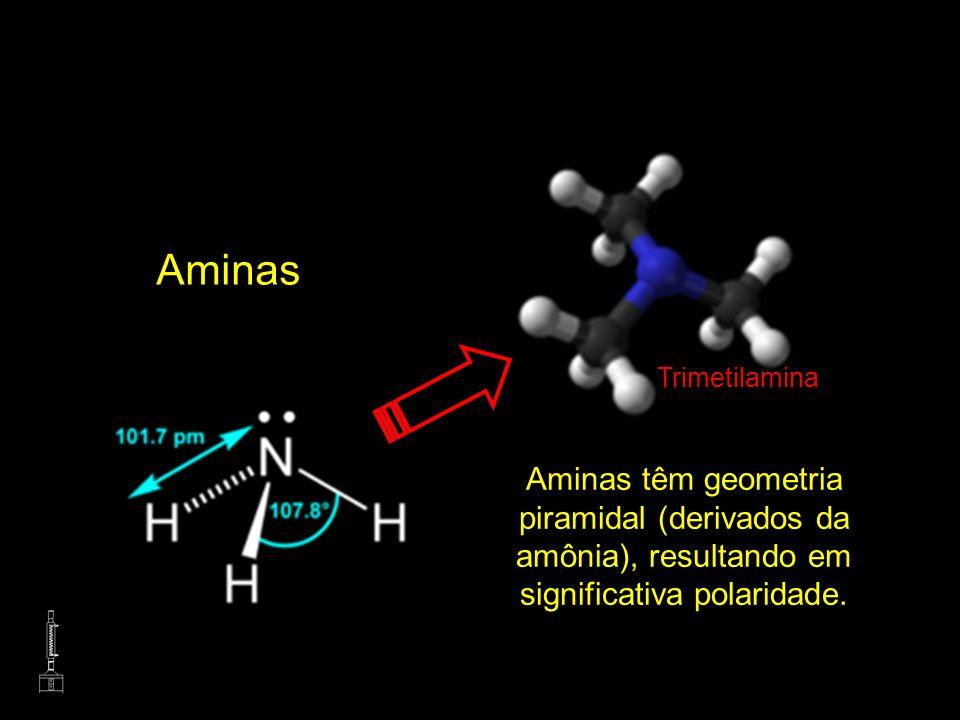 Aminas Aminas têm geometria piramidal (derivados da amônia), resultando em significativa polaridade. Trimetilamina