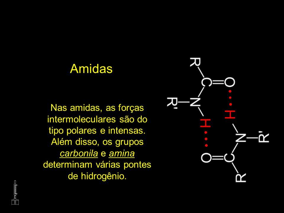 Amidas Nas amidas, as forças intermoleculares são do tipo polares e intensas. Além disso, os grupos carbonila e amina determinam várias pontes de hidr