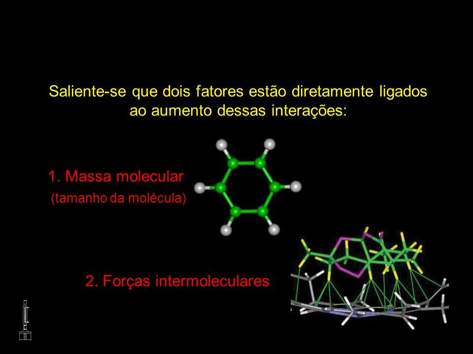 Saliente-se que dois fatores estão diretamente ligados ao aumento dessas interações: 1.Massa molecular (tamanho da molécula) 2. Forças intermoleculare