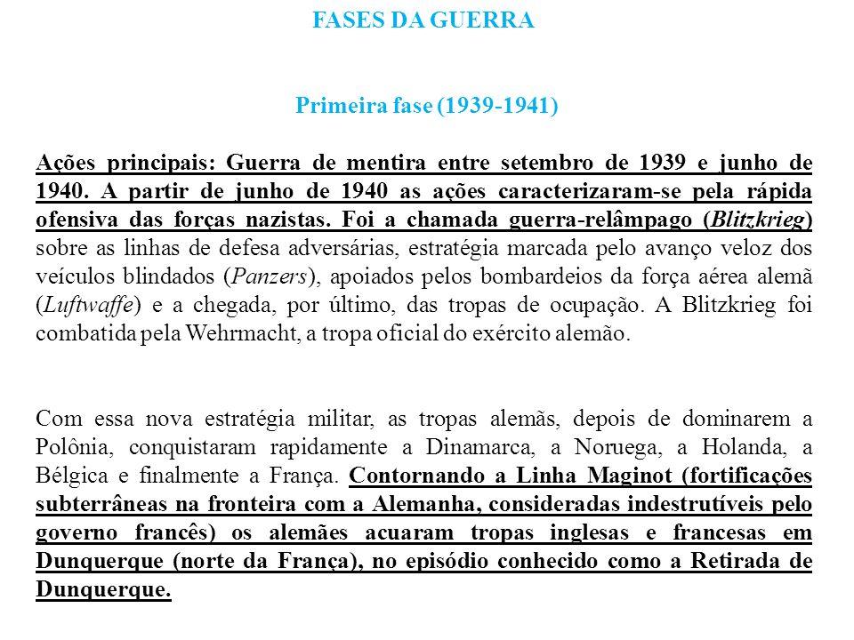 FASES DA GUERRA Primeira fase (1939-1941) Ações principais: Guerra de mentira entre setembro de 1939 e junho de 1940. A partir de junho de 1940 as açõ
