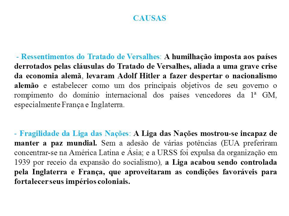 CAUSAS - Ressentimentos do Tratado de Versalhes: A humilhação imposta aos países derrotados pelas cláusulas do Tratado de Versalhes, aliada a uma grav