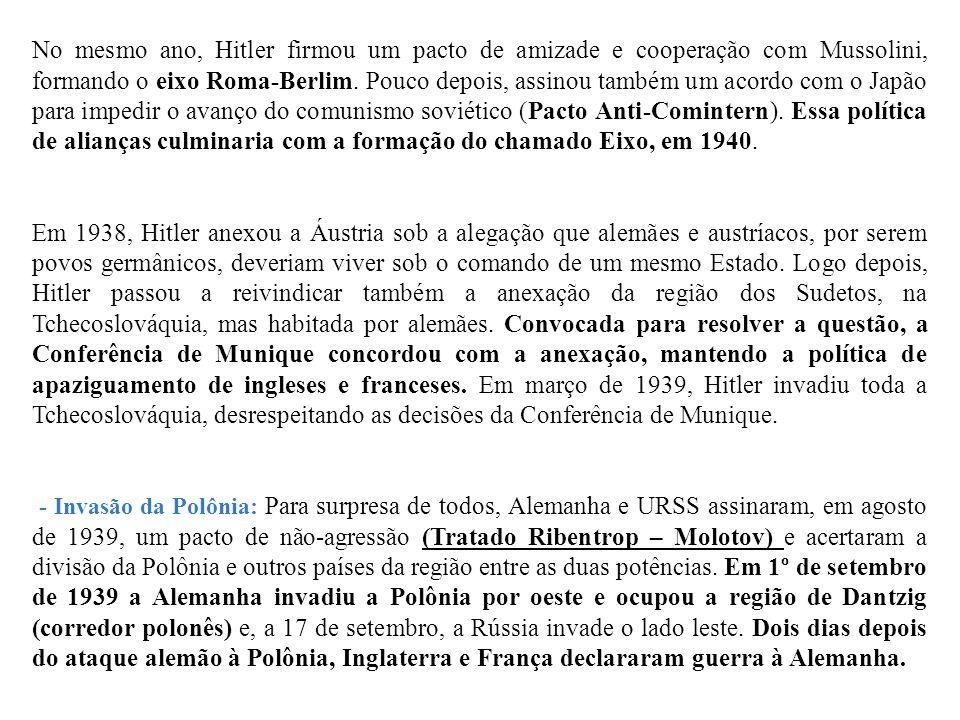 No mesmo ano, Hitler firmou um pacto de amizade e cooperação com Mussolini, formando o eixo Roma-Berlim. Pouco depois, assinou também um acordo com o