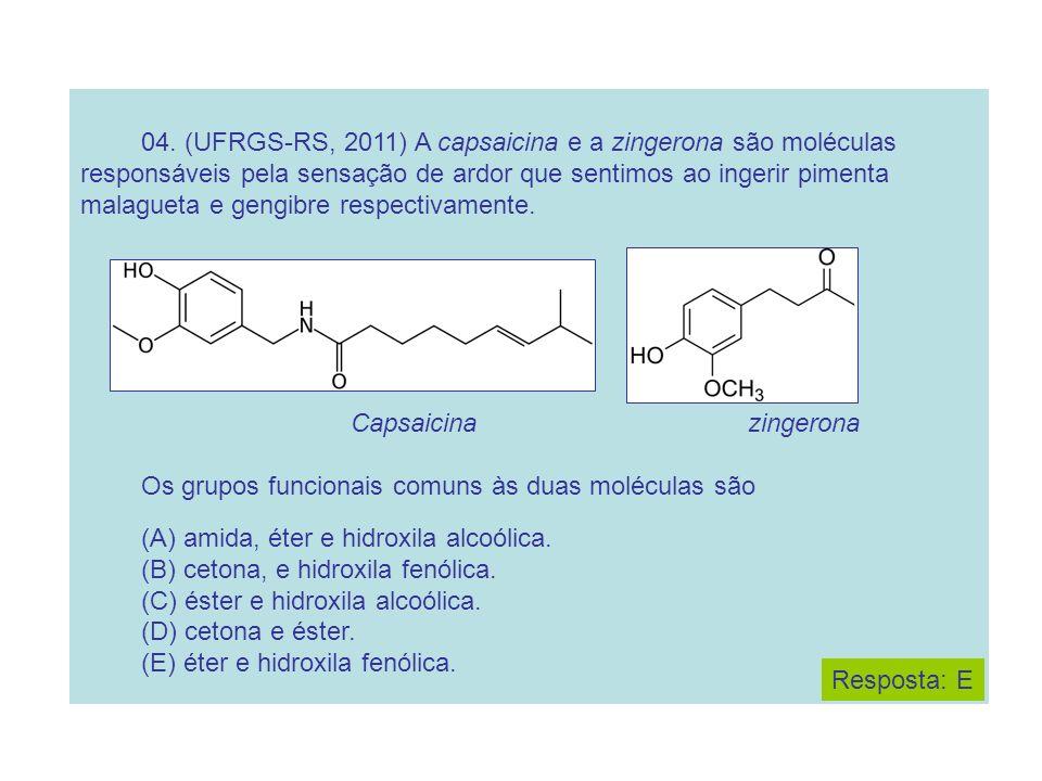 04. (UFRGS-RS, 2011) A capsaicina e a zingerona são moléculas responsáveis pela sensação de ardor que sentimos ao ingerir pimenta malagueta e gengibre