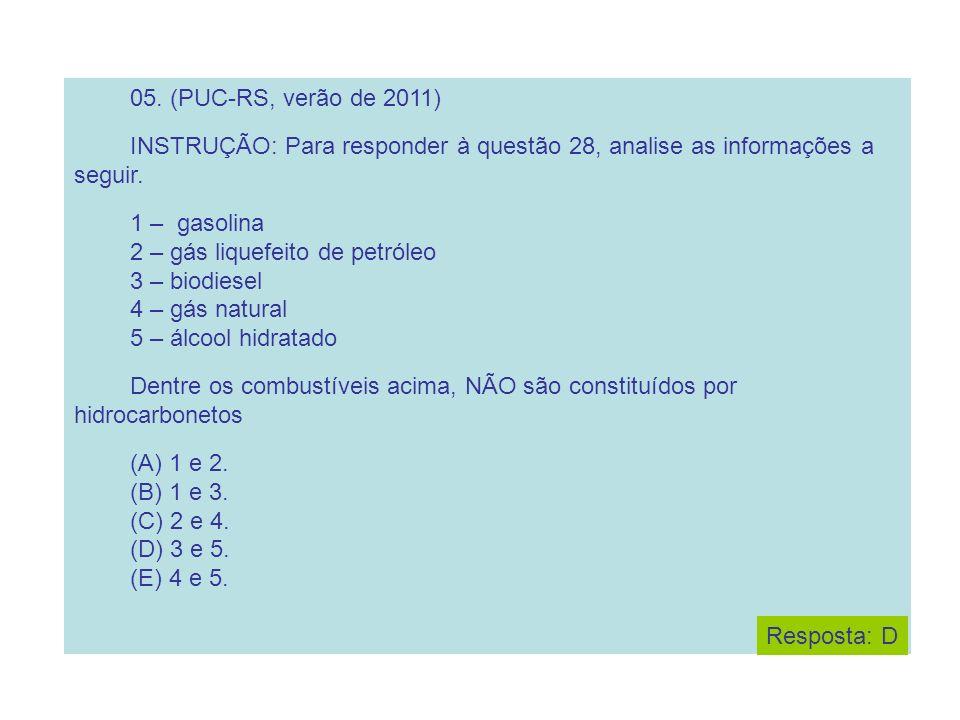 05. (PUC-RS, verão de 2011) INSTRUÇÃO: Para responder à questão 28, analise as informações a seguir. 1 – gasolina 2 – gás liquefeito de petróleo 3 – b