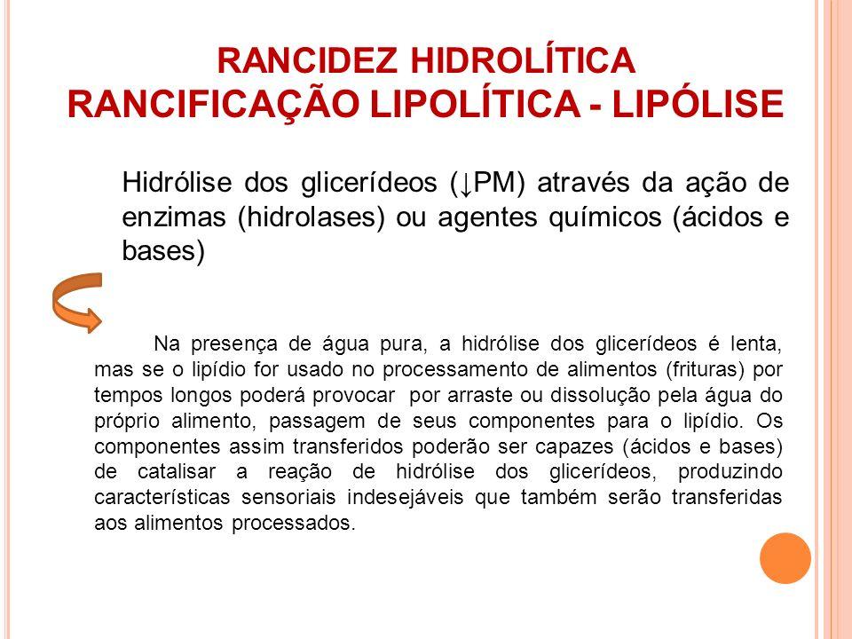 RANCIDEZ HIDROLÍTICA RANCIFICAÇÃO LIPOLÍTICA - LIPÓLISE Na presença de água pura, a hidrólise dos glicerídeos é lenta, mas se o lipídio for usado no p