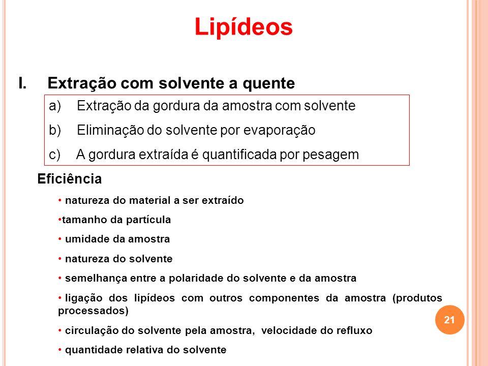 Lipídeos I. Extração com solvente a quente a) Extração da gordura da amostra com solvente b) Eliminação do solvente por evaporação c) A gordura extraí
