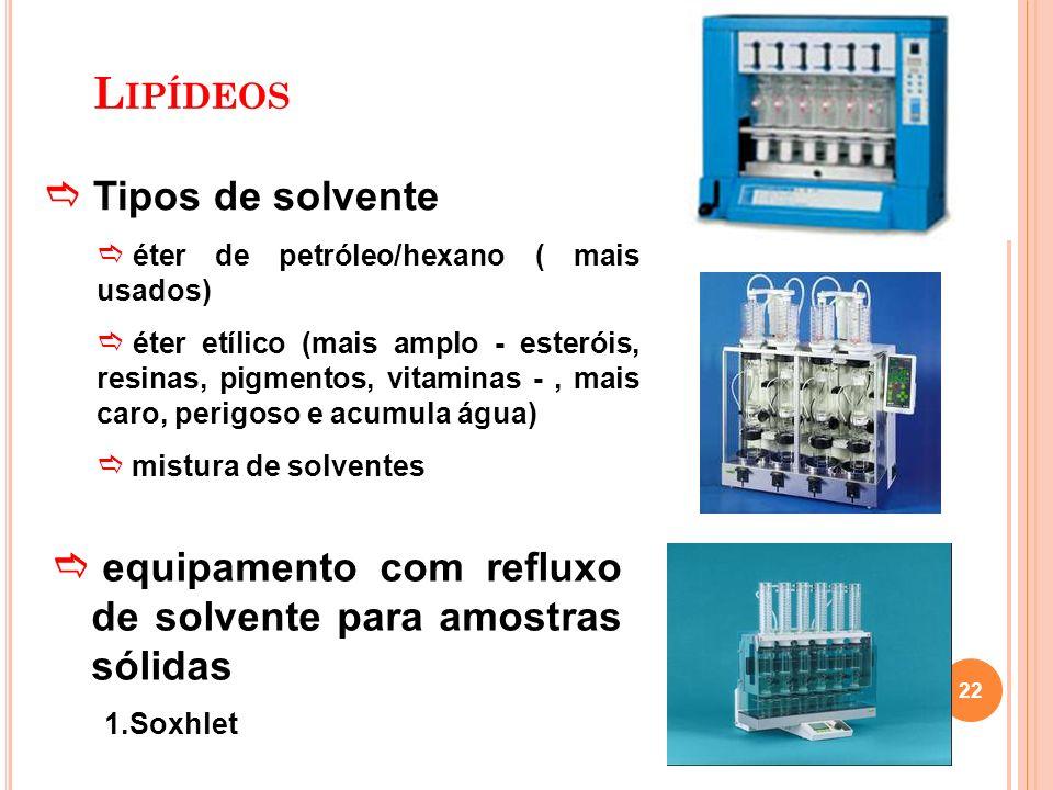 Tipos de solvente éter de petróleo/hexano ( mais usados) éter etílico (mais amplo - esteróis, resinas, pigmentos, vitaminas -, mais caro, perigoso e a
