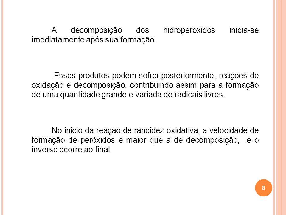 A decomposição dos hidroperóxidos inicia-se imediatamente após sua formação. Esses produtos podem sofrer,posteriormente, reações de oxidação e decompo