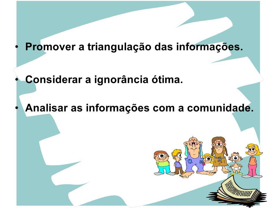 Promover a triangulação das informações. Considerar a ignorância ótima. Analisar as informações com a comunidade.