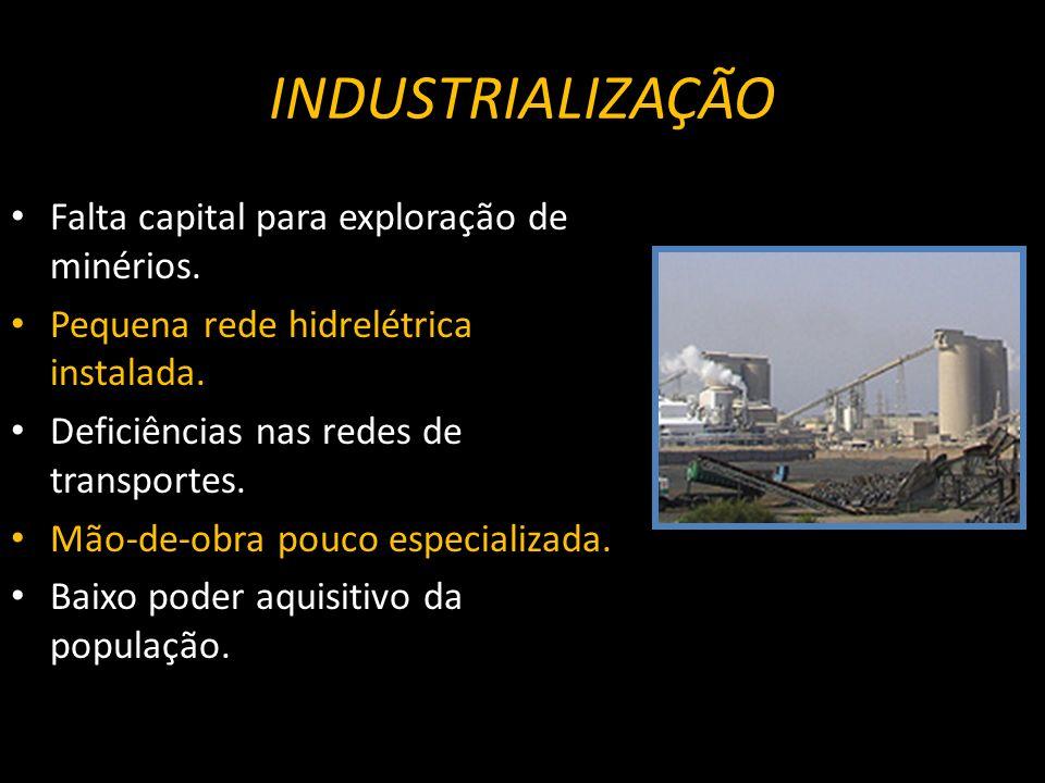 Falta capital para exploração de minérios.Pequena rede hidrelétrica instalada.