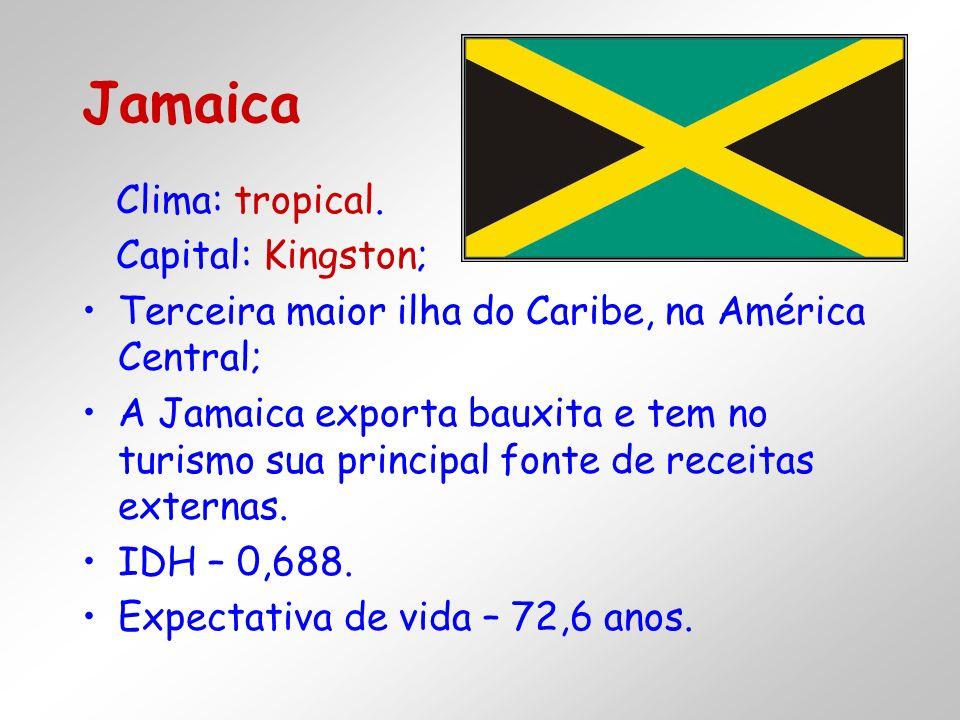 Clima: tropical. Capital: Kingston; Terceira maior ilha do Caribe, na América Central; A Jamaica exporta bauxita e tem no turismo sua principal fonte