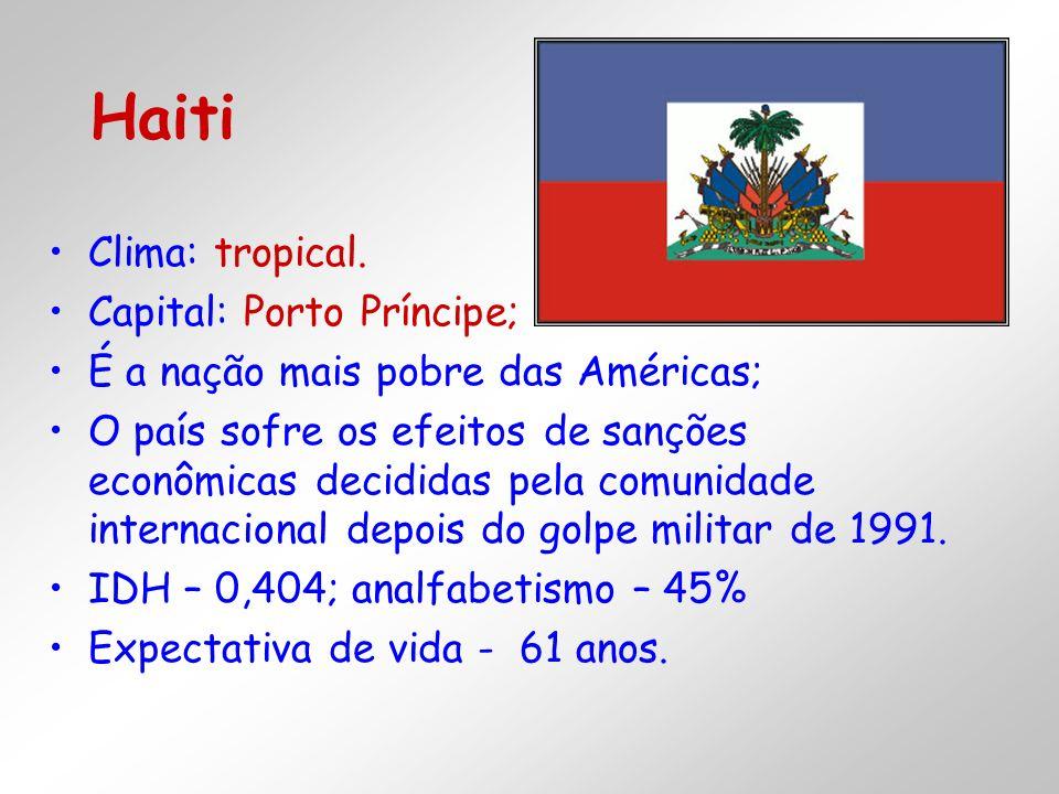 Clima: tropical. Capital: Porto Príncipe; É a nação mais pobre das Américas; O país sofre os efeitos de sanções econômicas decididas pela comunidade i