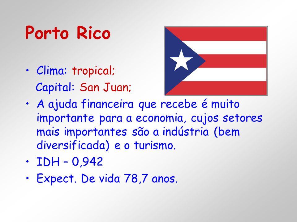 Clima: tropical; Capital: San Juan; A ajuda financeira que recebe é muito importante para a economia, cujos setores mais importantes são a indústria (