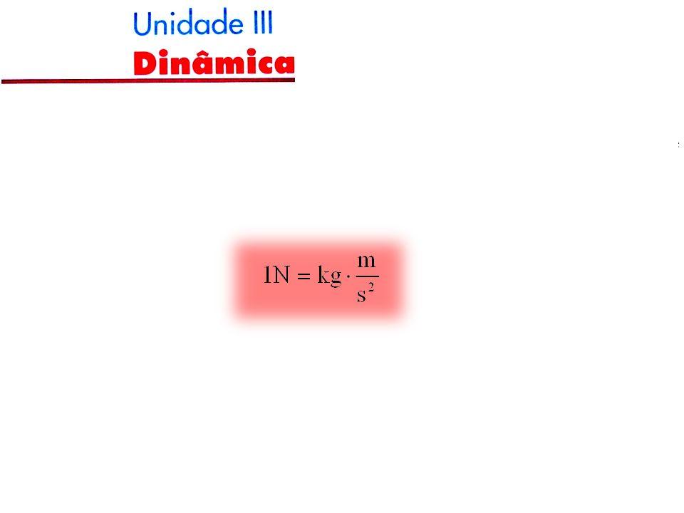 UNIDADE DE FORÇA No SI a unidade de força é o newton (N), definido como sendo a intensidade da força que aplicada à massa de 1 kg, produz uma aceleração de.