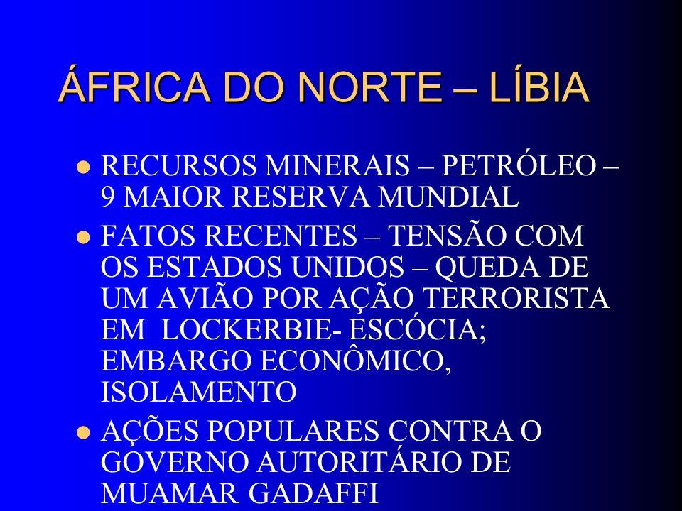 ÁFRICA DO NORTE – LÍBIA RECURSOS MINERAIS – PETRÓLEO – 9 MAIOR RESERVA MUNDIAL FATOS RECENTES – TENSÃO COM OS ESTADOS UNIDOS – QUEDA DE UM AVIÃO POR A
