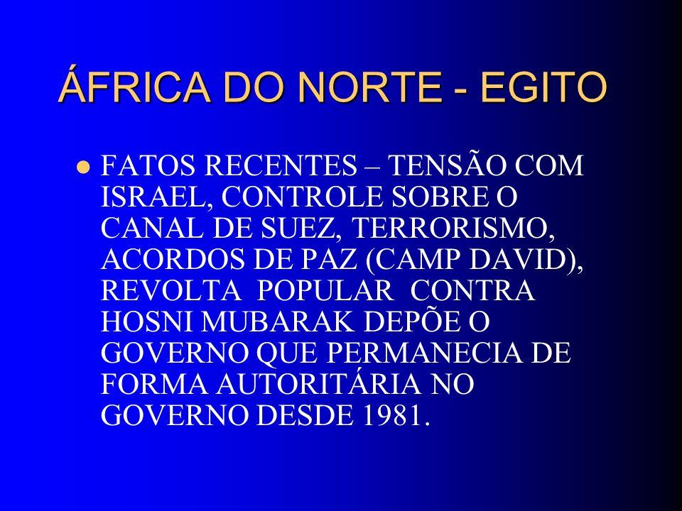 ÁFRICA DO NORTE - EGITO FATOS RECENTES – TENSÃO COM ISRAEL, CONTROLE SOBRE O CANAL DE SUEZ, TERRORISMO, ACORDOS DE PAZ (CAMP DAVID), REVOLTA POPULAR C