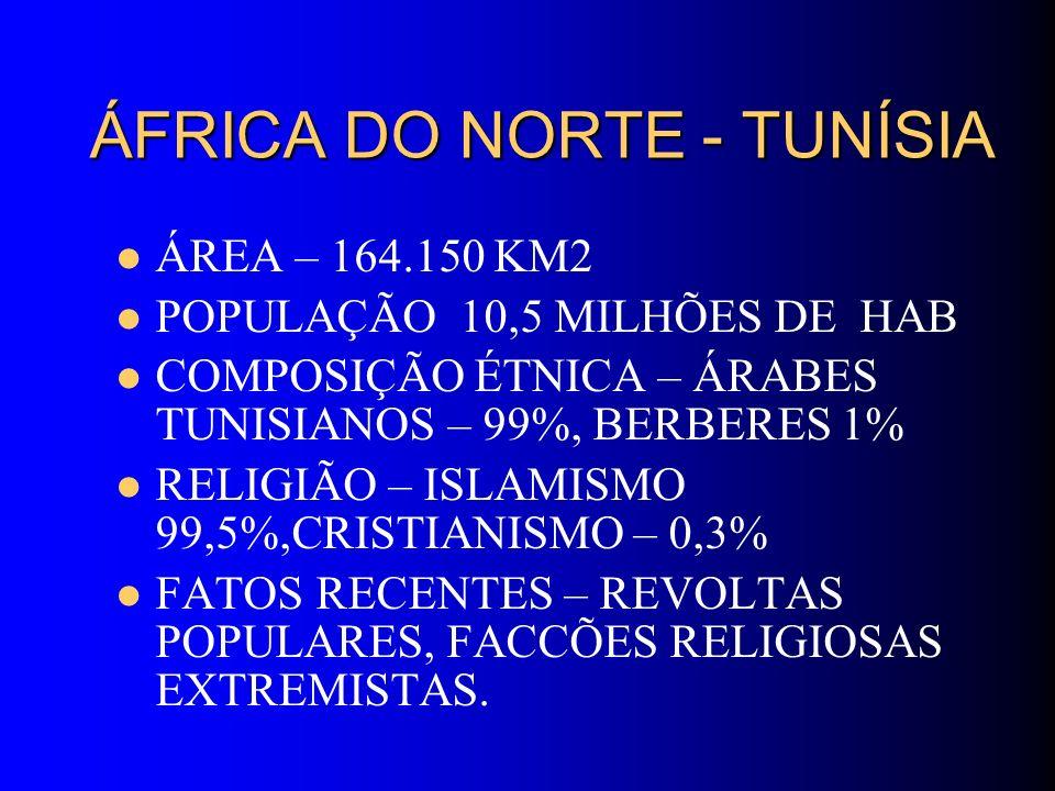 ÁFRICA DO NORTE - TUNÍSIA ÁREA – 164.150 KM2 POPULAÇÃO 10,5 MILHÕES DE HAB COMPOSIÇÃO ÉTNICA – ÁRABES TUNISIANOS – 99%, BERBERES 1% RELIGIÃO – ISLAMIS