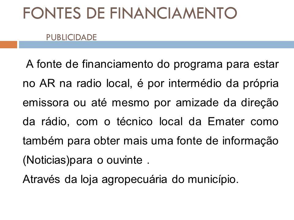 FONTES DE FINANCIAMENTO PUBLICIDADE20 A fonte de financiamento do programa para estar no AR na radio local, é por intermédio da própria emissora ou at